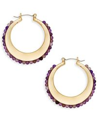 Ava & Aiden - Goldtone Amethyst Hoop Earrings - Lyst