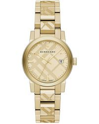Burberry - Goldtone Ip Stainless Steel Check Etched Bracelet Watch/34mm - Lyst