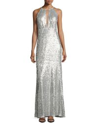 Adrianna Papell - Sequined Halter Gown - Lyst