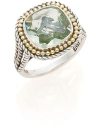 Effy - Green Amethyst, Sterling Silver & 18k Yellow Gold Ring - Lyst