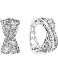 Effy - 14k White Gold Diamond Bow Stud Earrings - Lyst