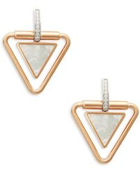 Roberto Coin - Diamond And 18k Two-tone Gold Triangle Drop Earrings - Lyst