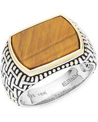 Effy - Sterling Silver & 18k Gold Tiger's Eye Ring - Lyst