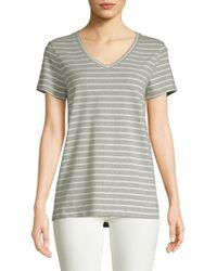 Saks Fifth Avenue - Stripe V-neck Tee - Lyst