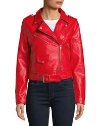 Bagatelle - Belted Faux Leather Moto Jacket - Lyst