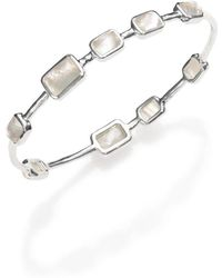 Ippolita - Rock Candy Mother-of-pearl, Clear Quartz & Sterling Silver Rectangle Doublet Station Bangle Brac - Lyst