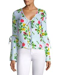 MILLY - Maggie Silk Floral Bow Top - Lyst