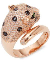 Effy - Diamonds & Tsavorite 14k Rose Gold Leopard Head Ring - Lyst