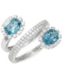 Hueb - 18k White Gold, Blue Topaz & Diamond Ring - Lyst