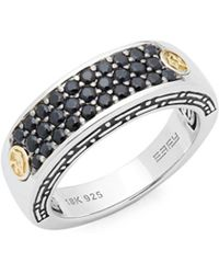 Effy - Black Sapphire, 18k Yellow Gold And Sterling Silver Pavé Ring - Lyst