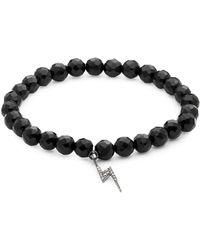 Bavna - Diamond And Onyx Sterling Silver Charm Bracelet - Lyst