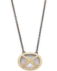 Freida Rothman - Horizontal Pave Strike Pendant Necklace - Lyst