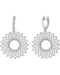 Effy - Diamond And 14k White Gold Burst Drop Earrings, 1.1 Tcw - Lyst