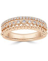 Saks Fifth Avenue - Diamond And 18k Rosegold Three-row Ring - Lyst
