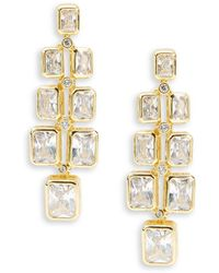 Saks Fifth Avenue | Cubic Zirconia And Goldtone Modern Earrings | Lyst