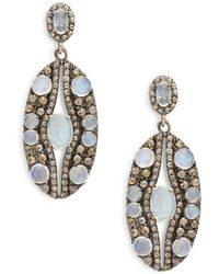 Bavna - Champagne Diamond & Moonstone Drop Earrings - Lyst