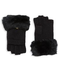 Adrienne Landau - Dyed Rabbit Fur Trimmed Gloves - Lyst