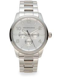 Saks Fifth Avenue - Stainless Steel Sub-dial Link Bracelet Watch - Lyst
