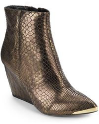 Rachel Zoe - Nadia Metallic Embossed Wedge Ankle Boots - Lyst