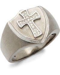 Effy - Sterling Silver & Diamond Cross Ring - Lyst