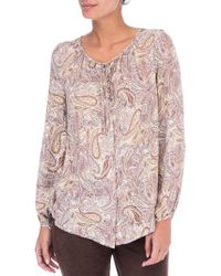 B Collection By Bobeau - Paisley Print Tie Neck Blouse - Lyst