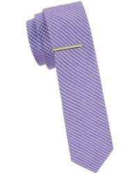 Calvin Klein Gingham Linen & Silk Blend Slim Tie - Purple