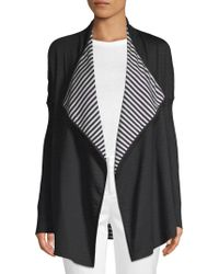 St. John - Striped Reversible Cardigan - Lyst