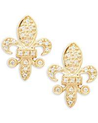 KC Designs - 14k Yellow Gold And Diamond Fleur De Lis Stud Earrings - Lyst