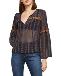 BCBGMAXAZRIA - Embroidered Sheer Bell-sleeve Top - Lyst