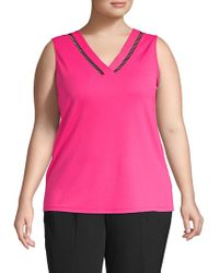 cea034a8eb145 Lyst - Calvin Klein Sleeveless Printed Cowl Neck Top in Pink