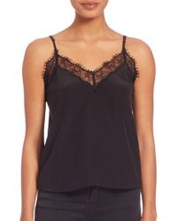 The Kooples - Lace Trim Silk Camisole - Lyst