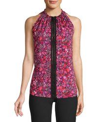 9a99af2750399 Elie Tahari - Bessie Floral-print Silk Sleeveless Blouse - Lyst