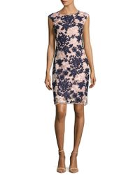 Donna Ricco - Embroidery Mesh Floral Dress - Lyst