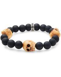 King Baby Studio - Black Onyx & Sterling Silver Skull Bracelet - Lyst