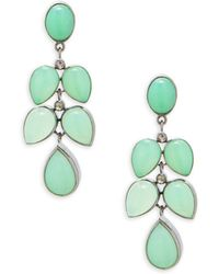 Bavna - Champagne Diamond, Chrysoprase & Sterling Silver Drop Earrings - Lyst