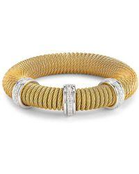 Alor - Kai 18k White Gold & Yellow-tone Stainless Steel Diamond Coiled Bangle Bracelet - Lyst