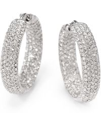 "Adriana Orsini - Pavà Crystal Rhodium-plated Inside-outside Hoop Earrings/0.75"" - Lyst"