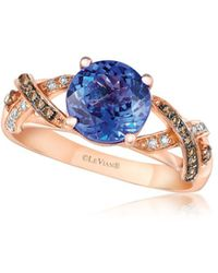 Le Vian - Chocolate & Vanilla Diamond, Blueberry Tanzanite And 14k Strawberry Gold Ring - Lyst