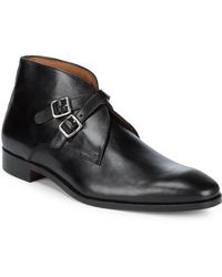 Massimo Matteo - Leather Double Monk Strap Mid Top Dress Boots - Lyst