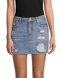 Vigoss - Distressed Denim Mini Skirt - Lyst