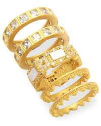 Freida Rothman - Set Of Five Crowned Stacking Rings - Lyst