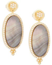 Freida Rothman - Crystal, Mother-of-pearl And Sterling Silver Pavé Framed Drop Earrings - Lyst