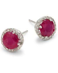 Effy - 14k White Gold, Ruby & Diamond Earrings - Lyst