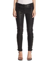 A.L.C. - Dent Leather Lace-up Skinny Pants - Lyst