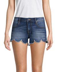 Vigoss - Scalloped Denim Shorts - Lyst