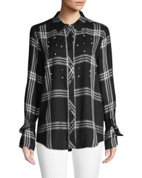 Laundry by Shelli Segal - Embroidered Plaid Button Front Shirt - Lyst
