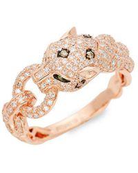 Effy - 14k Rose Gold, Diamond & Tsavorite Panther Ring - Lyst