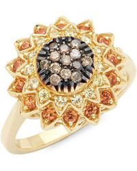 Roberto Coin - Black Diamond, Yellow Sapphire And 18k Yellow Gold Ring - Lyst