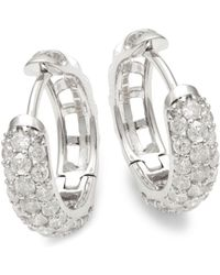 Effy - 14k White Gold & Diamond Huggie Earrings - Lyst
