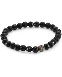 Bavna - Black Spinel And Champagne Diamonds Bead Bracelet - Lyst